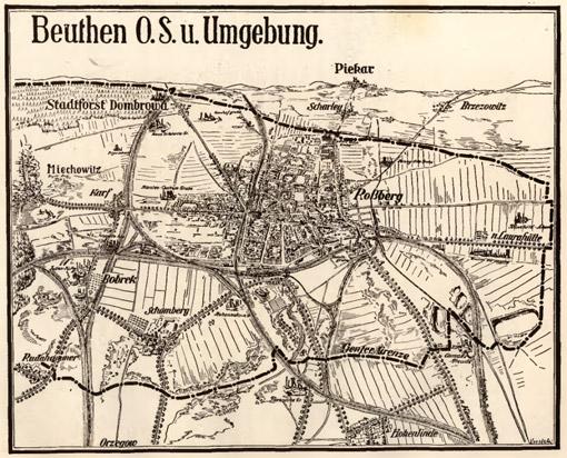 Mapa Bytomia z 1925 roku